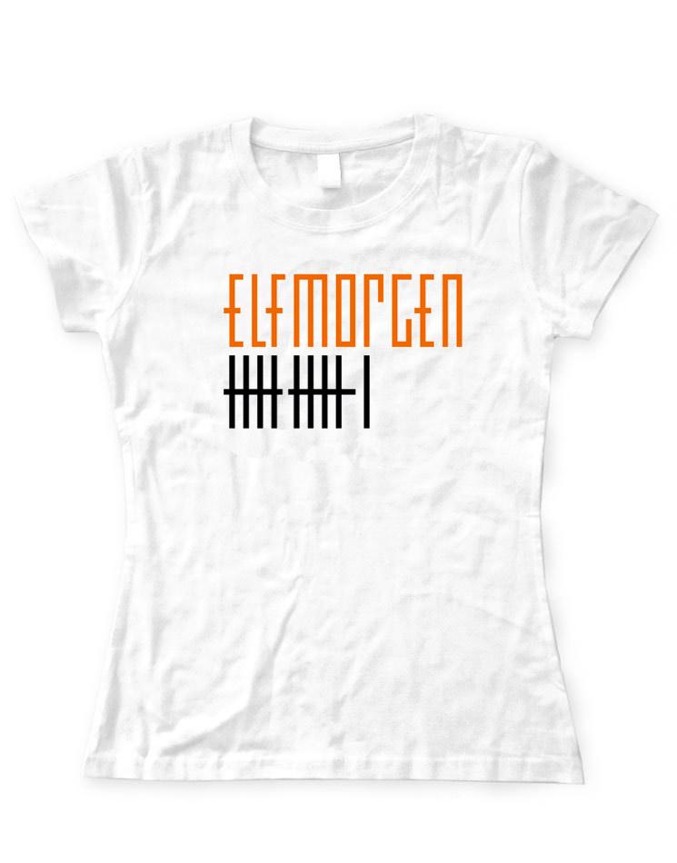 Elfmorgen Girly T-Shirt orange-schwarz auf weiß