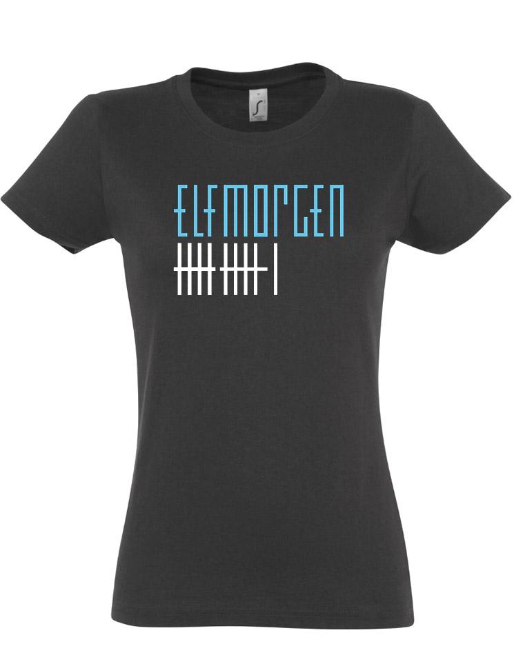 Elfmorgen Girly T-Shirt blau-weiß auf grau