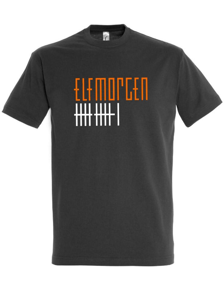 Elfmorgen T-Shirt orange-weiß auf grau