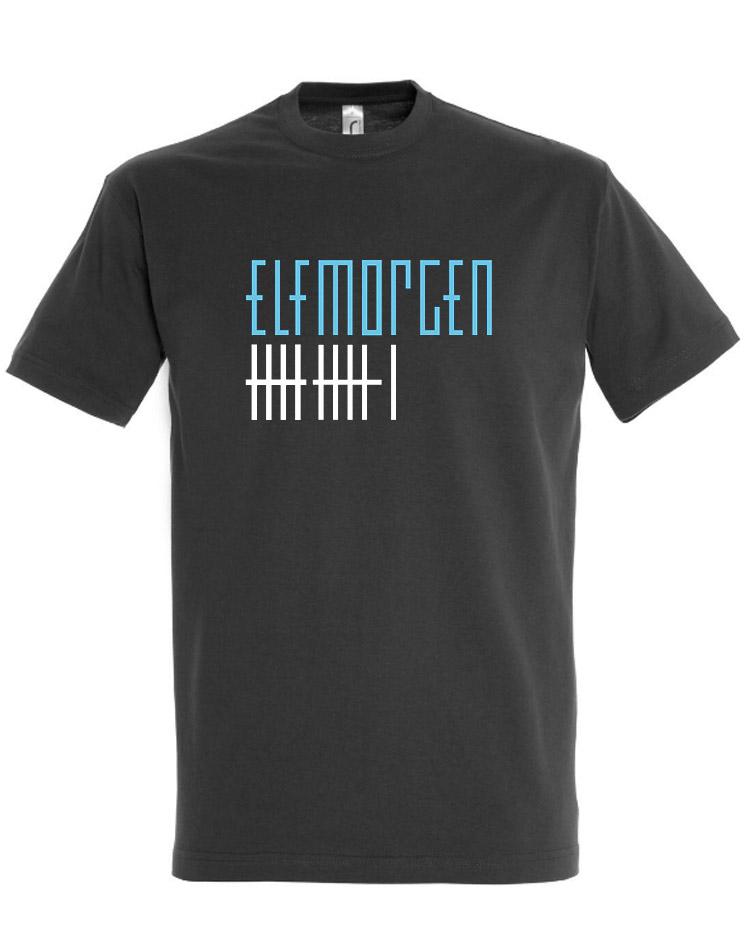 Elfmorgen T-Shirt blau-weiß auf grau