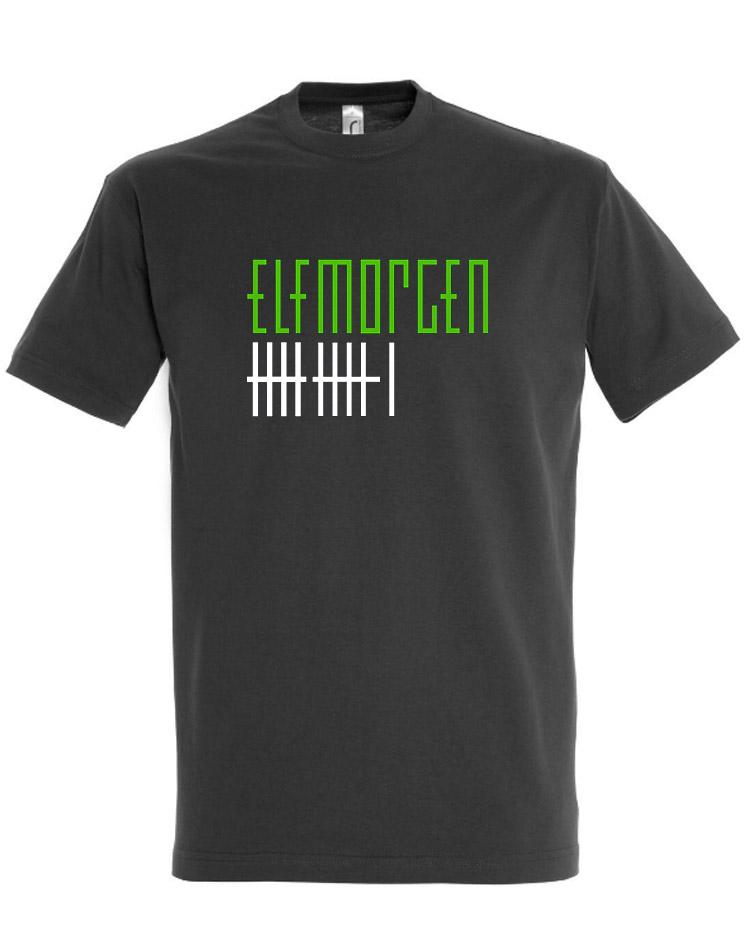Elfmorgen T-Shirt grün-weiß auf grau