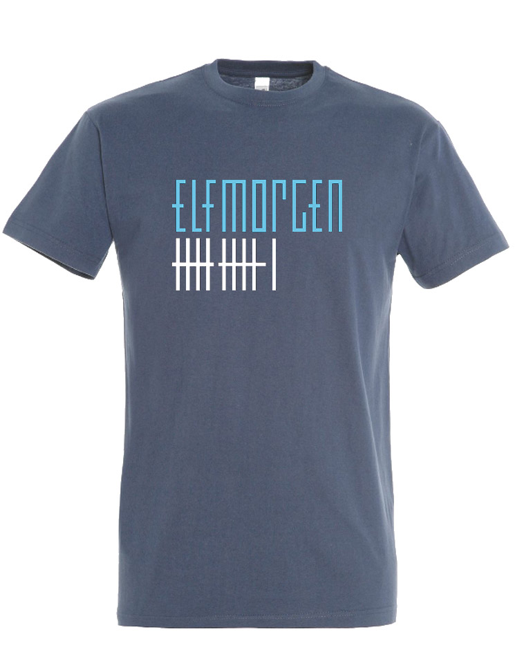 Elfmorgen T-Shirt blau-weiß auf denim