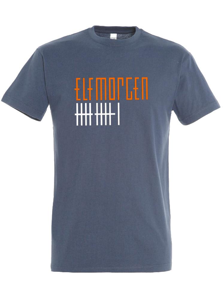 Elfmorgen T-Shirt orange-weiß auf denim