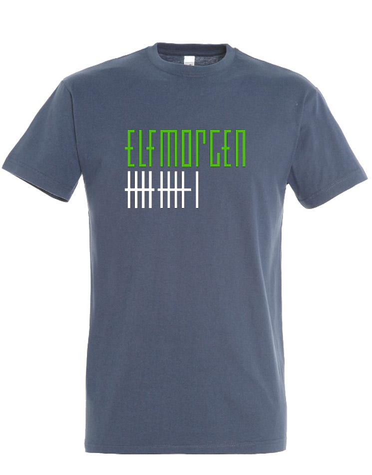 Elfmorgen T-Shirt grün-weiß auf denim