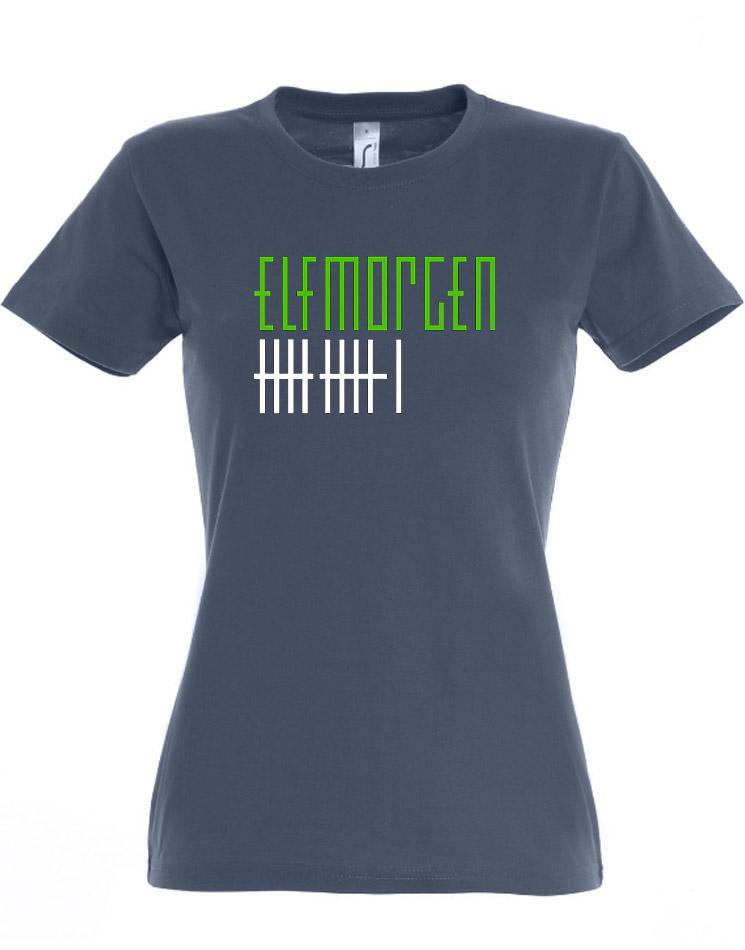 Elfmorgen Girly T-Shirt grün-weiß auf denim