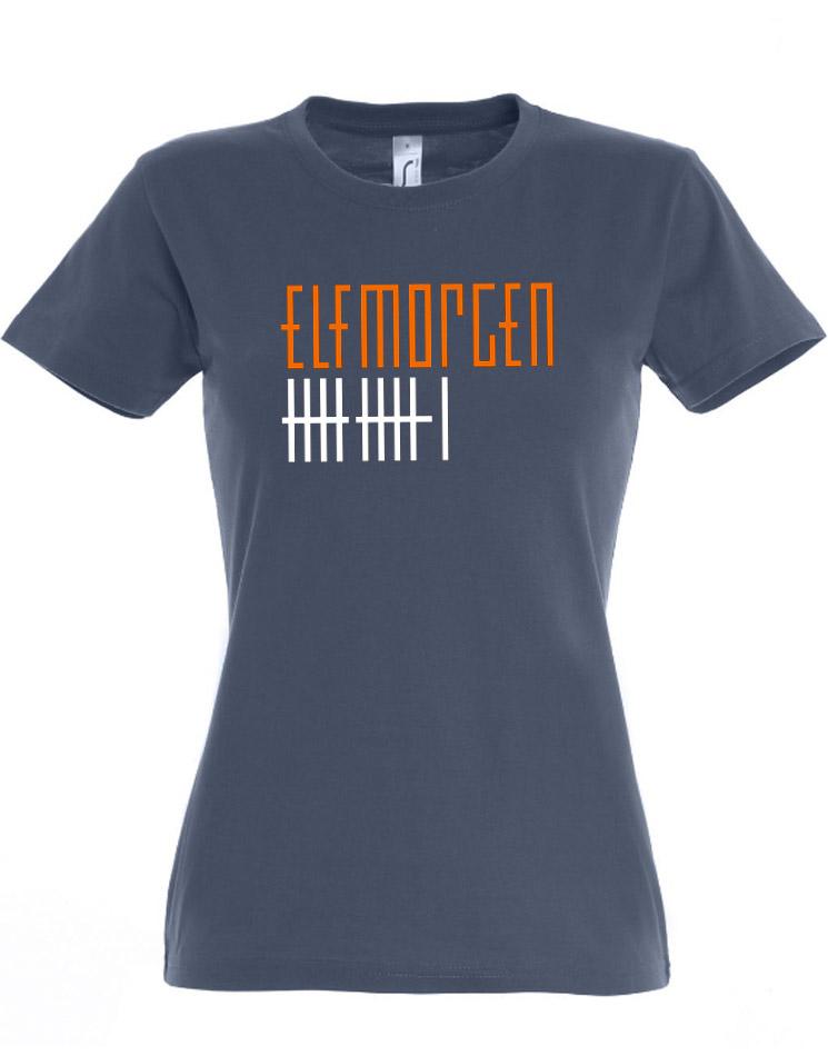 Elfmorgen Girly T-Shirt orange-weiß auf denim
