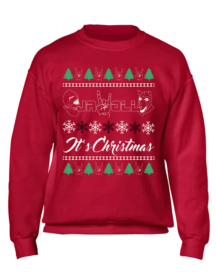X-Mas Sweater Jawoll mehrfarbig auf rot