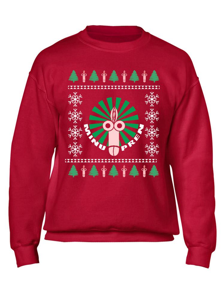 X-Mas Sweater Fotzenpimmel mehrfarbig auf rot
