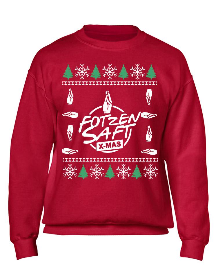 X-Mas Sweater Fotzensaft mehrfarbig auf rot