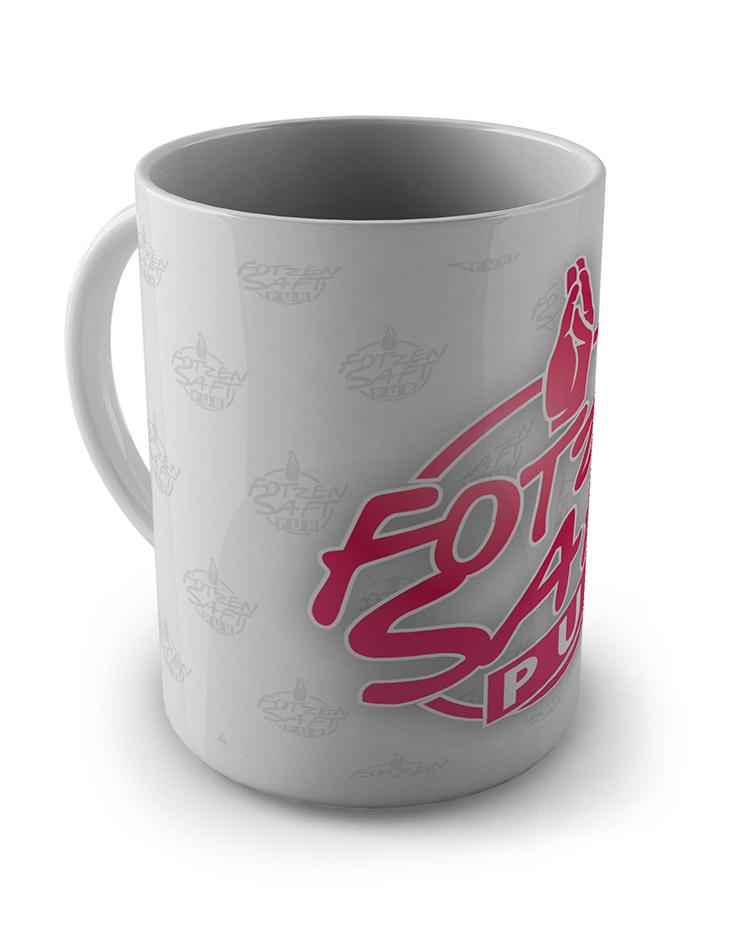 Fotzensaft Pur Tasse pink auf weiß