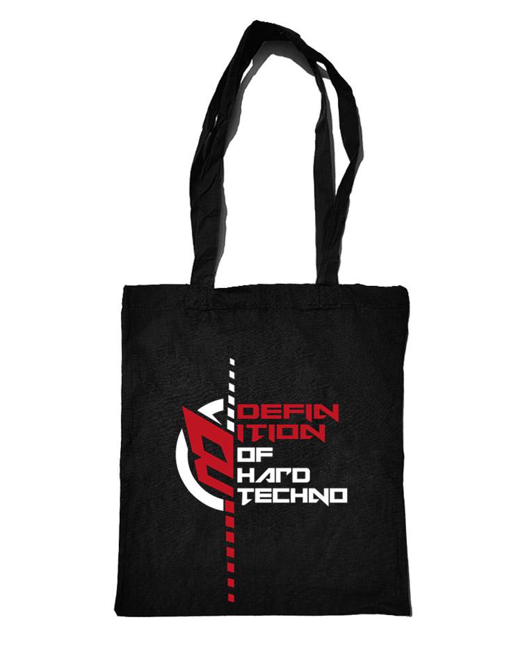Definition of Hardtechno Baumwolltasche weiß/rot auf schwarz
