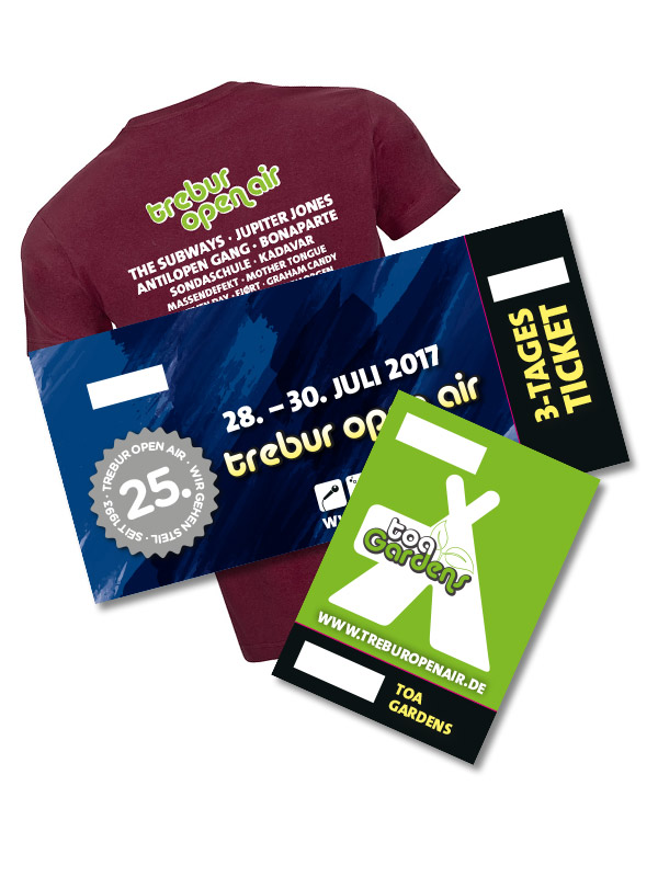 SHIRTBUNDLE: 3 Tage Ticket + TOA GARDENS + TOA T-Shirt aus dem Shop