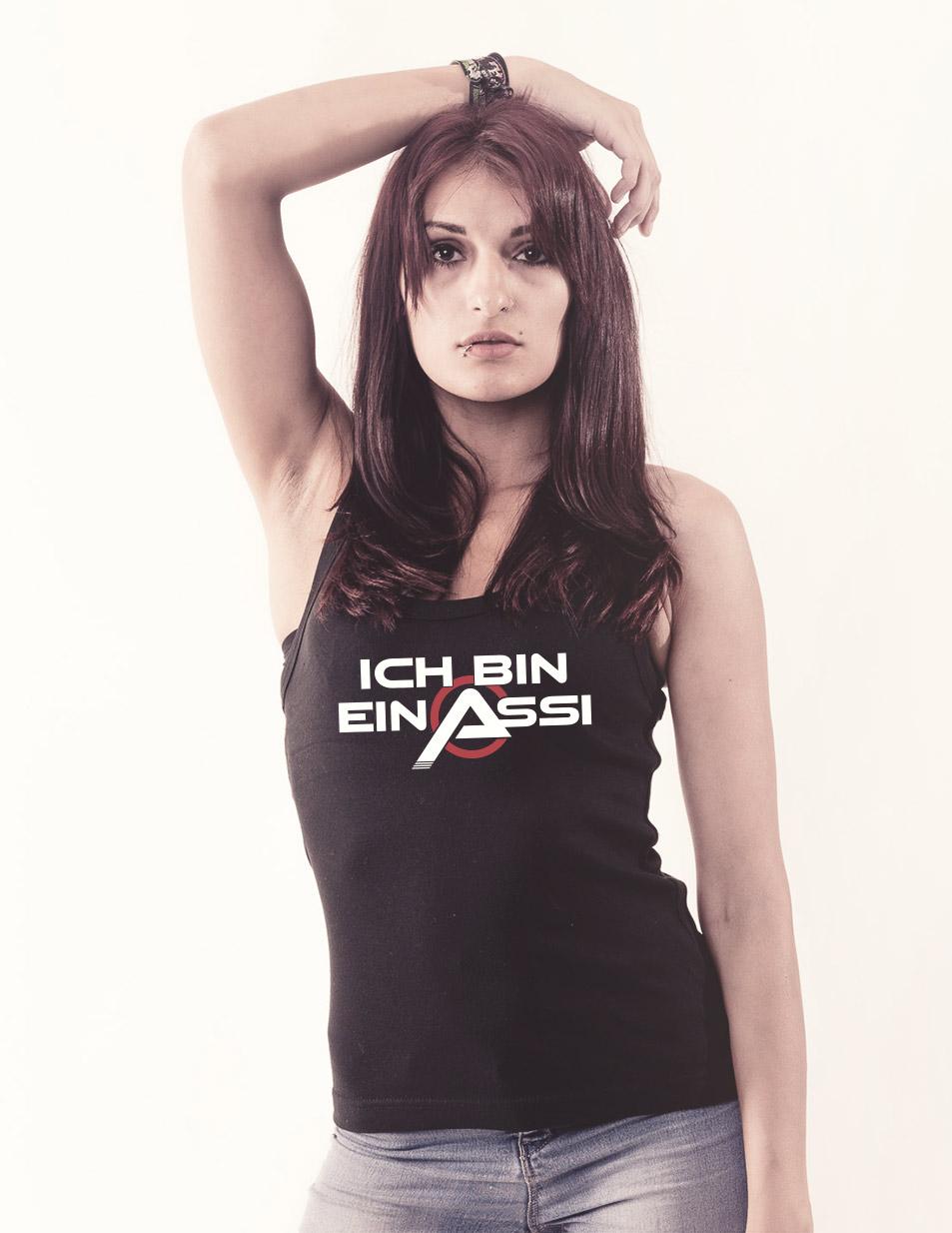 Ich bin ein Assi Girly Tank Top mehrfarbig auf schwarz