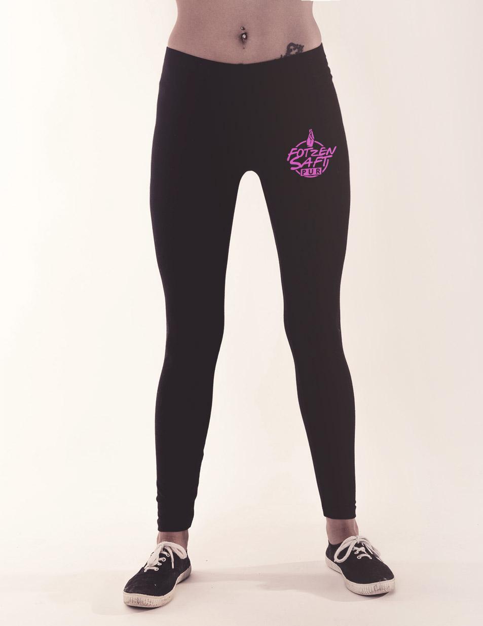 Fotzensaft Leggings pink auf schwarz