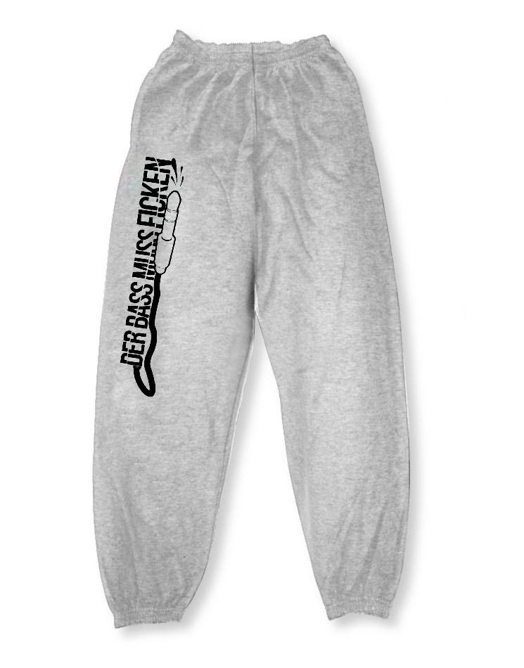 BaMuFi Jogginghose schwarz auf grau