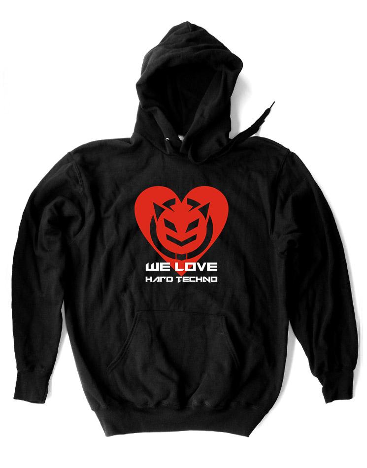 We Love Hardtechno Kappu 2-farbig mehrfarbig auf schwarz