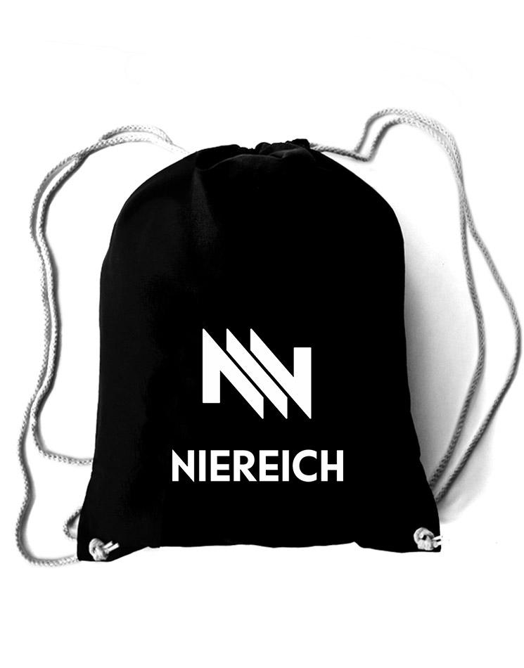Niereich Logo Baumwollrucksack weiß auf schwarz