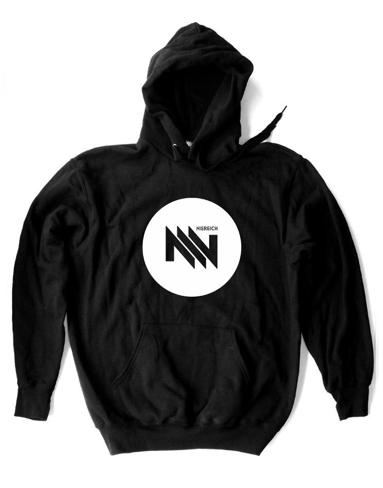 Niereich Dot-Logo Hoodie weiß auf schwarz