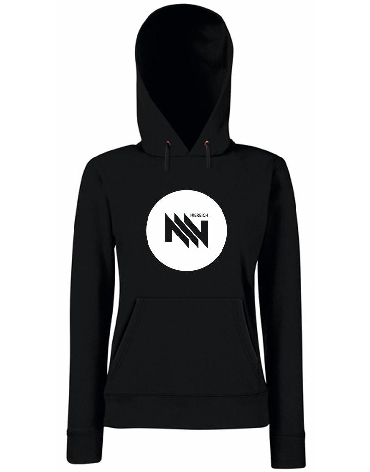 Niereich Dot-Logo Girly Hoodie weiß auf schwarz