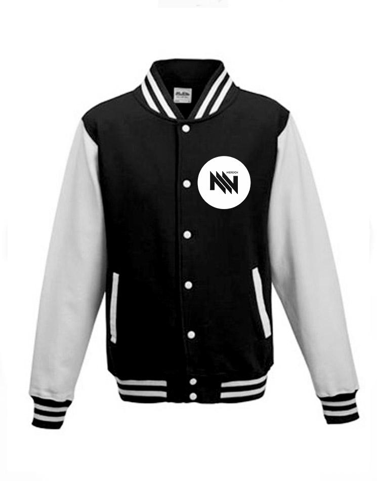 Niereich Dot-Logo College Jacke weiß auf schwarz