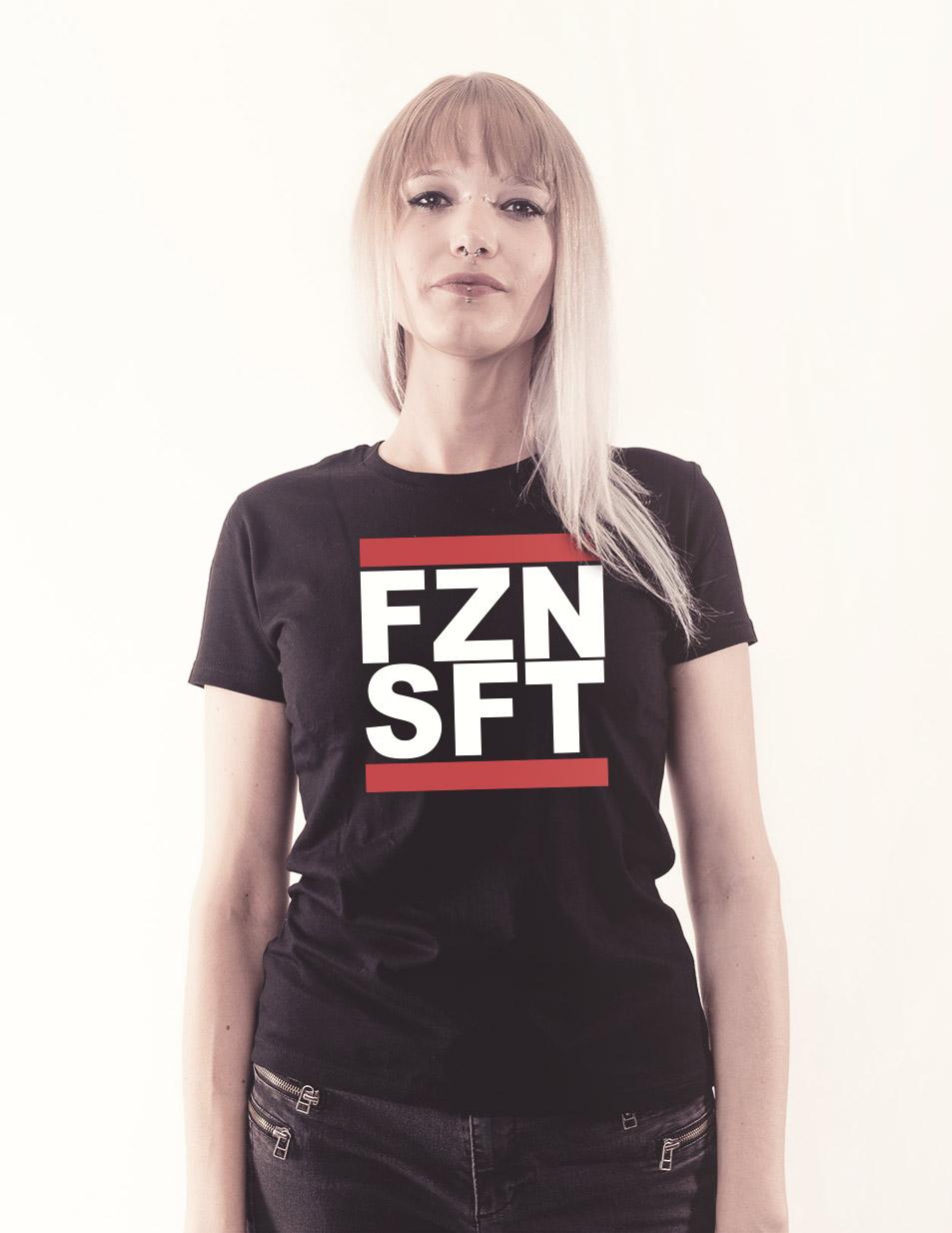 FZNSFT Girly Shirt mehrfarbig auf schwarz