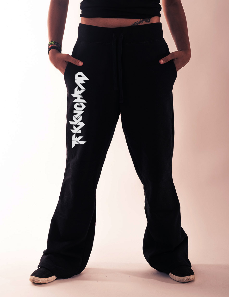 Damen-Jogginghose Tekknohead weiss auf schwarz
