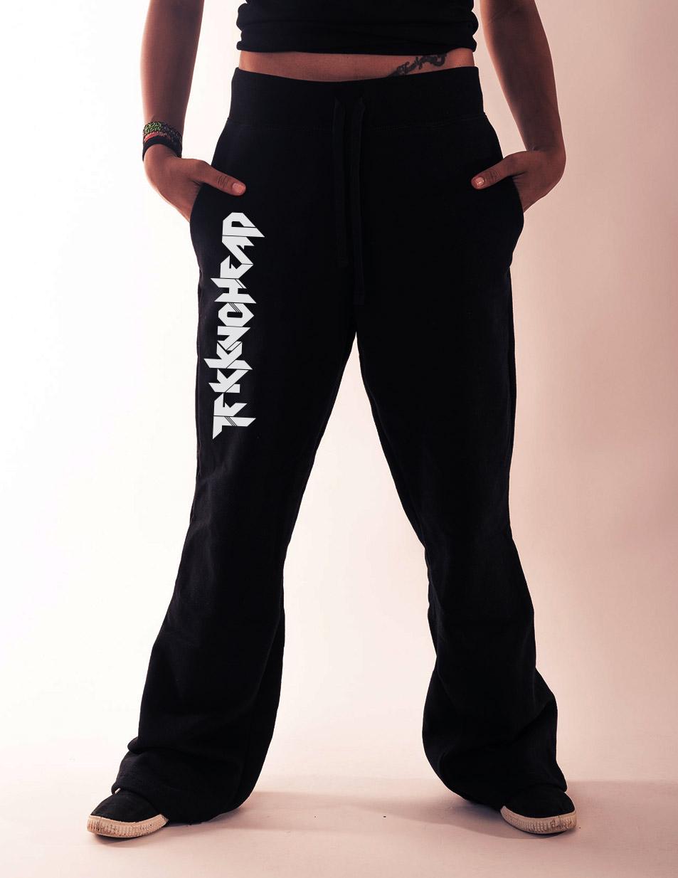 Damen-Jogginghose Tekknohead silber auf schwarz