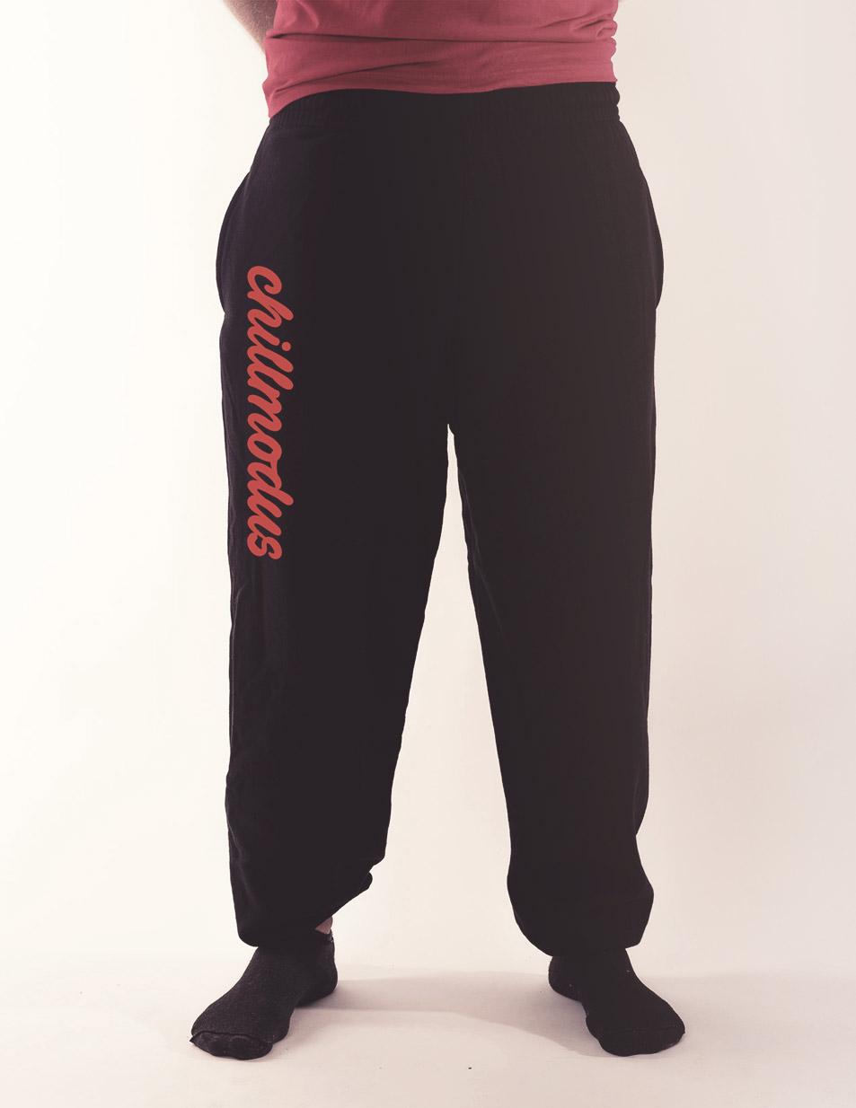 Herren-Jogginghose Chillmodus rot auf schwarz