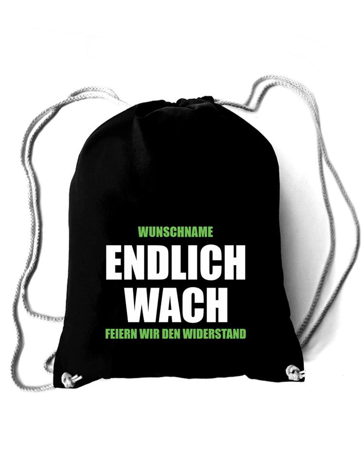 Endlich Wach Baumwollrucksack - Mit Wunschnamen mehrfarbig auf schwarz