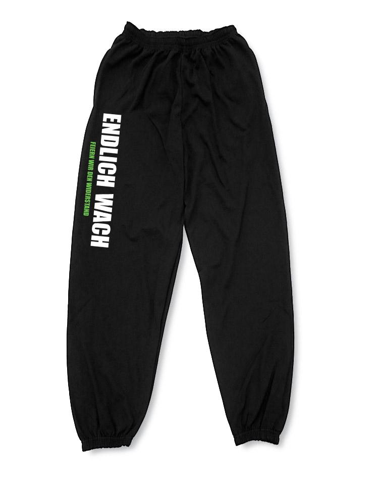 Endlich Wach Jogginghose mehrfarbig auf schwarz
