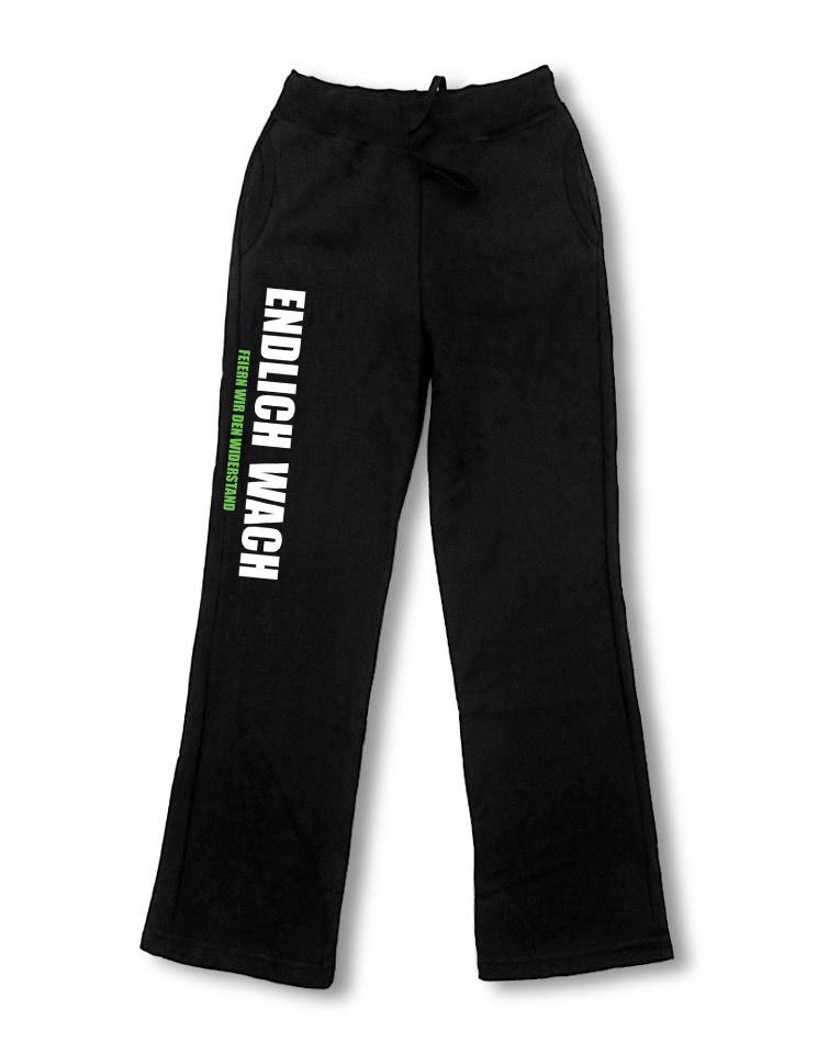 Endlich Wach Damen Jogginghose mehrfarbig auf schwarz