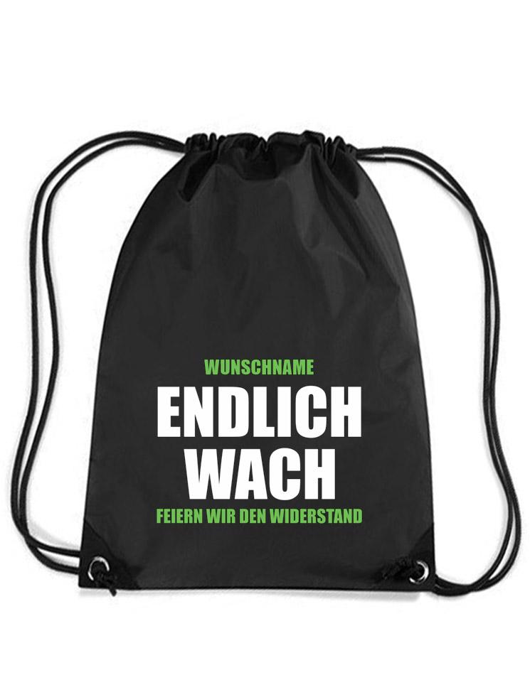 Endlich Wach Premium Gymsack- Mit Wunschnamen mehrfarbig auf schwarz