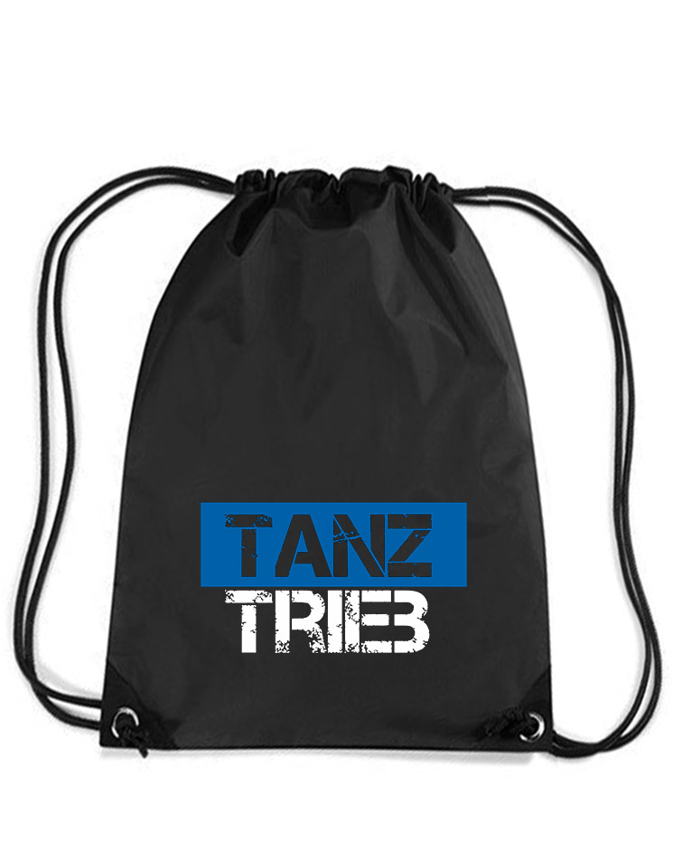 TanzTrieb Premium Gymsack- Mit Wunschnamen mehrfarbig auf schwarz