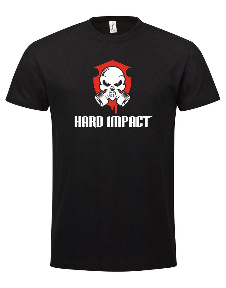 Hard Impact T-Shirt mehrfarbig auf schwarz