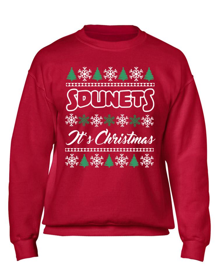 Sdunets Weihnachtspullover mehrfarbig auf rot