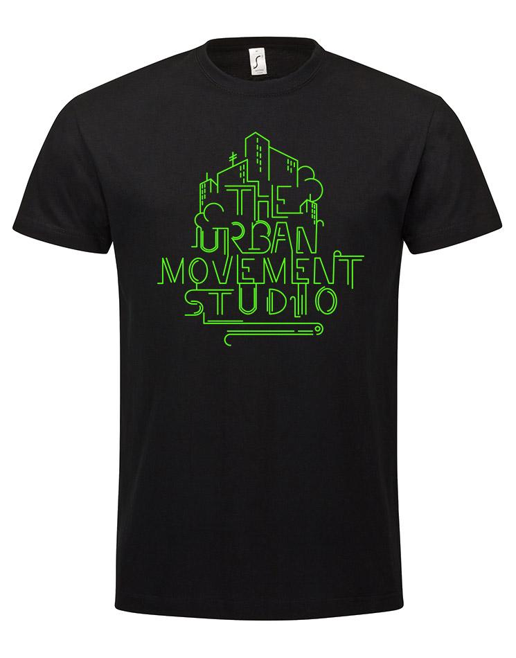 Urban Movement Studio T-Shirt neongrün auf schwarz