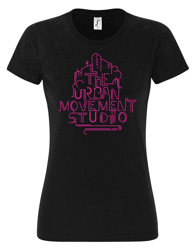 Urban Movement Studio Girly T-Shirt Neonpink auf schwarz
