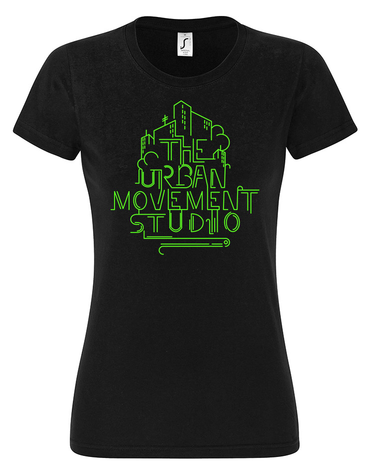 Urban Movement Studio Girly T-Shirt Neongrün auf schwarz