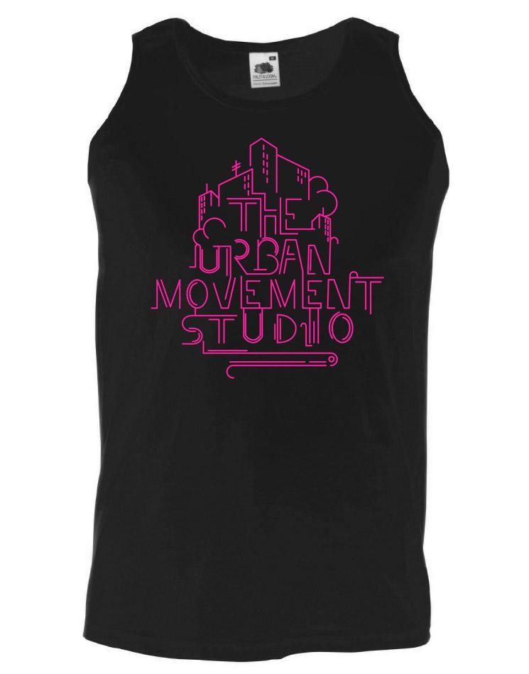 Urban Movement Studio Tank Top neonpink auf schwarz