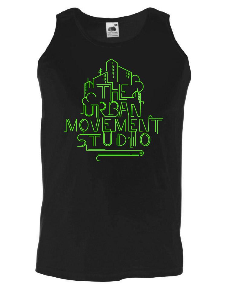 Urban Movement Studio Tank Top neongrün auf schwarz
