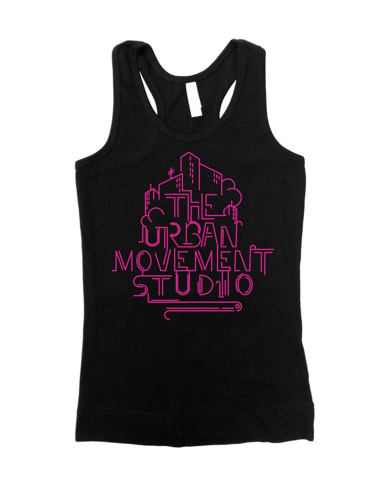 Urban Movement Studio Girly Tank Top Neonpink auf schwarz