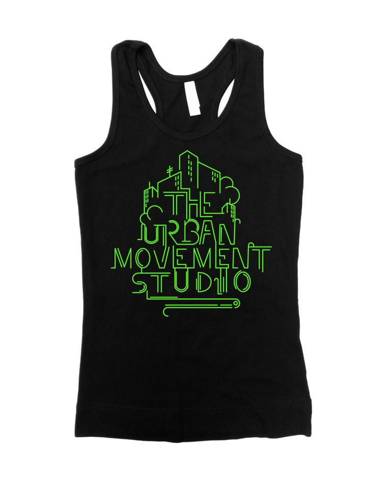 Urban Movement Studio Girly Tank Top Neongrün auf schwarz