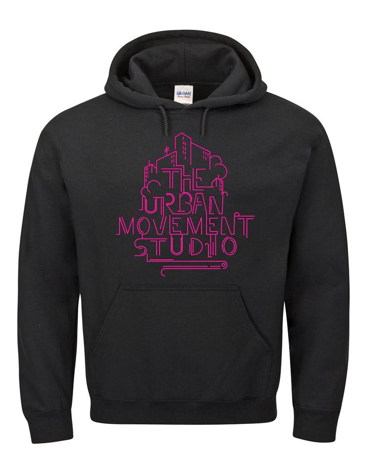 Urban Movement Studio Kappu neonpink auf schwarz