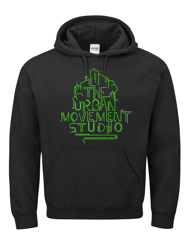 Urban Movement Studio Kappu neongrün auf schwarz