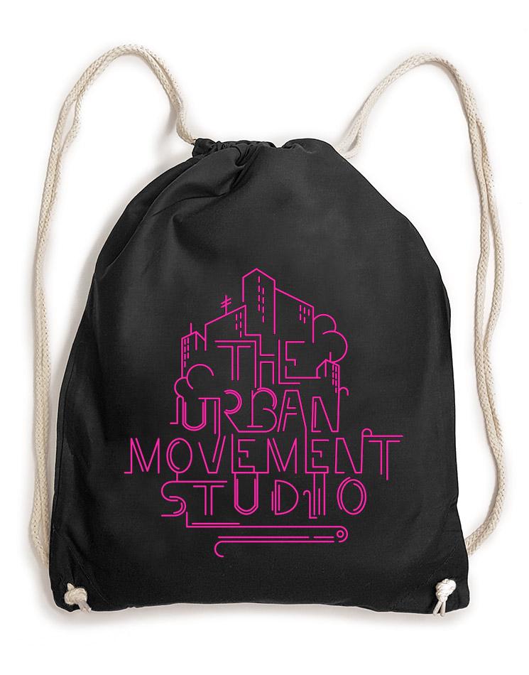 Urban Movement Studio Baumwollrucksack neonpink auf schwarz