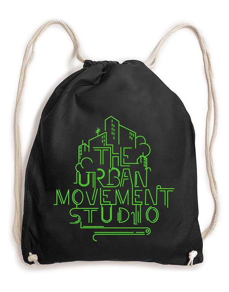 Urban Movement Studio Baumwollrucksack neongrün auf schwarz
