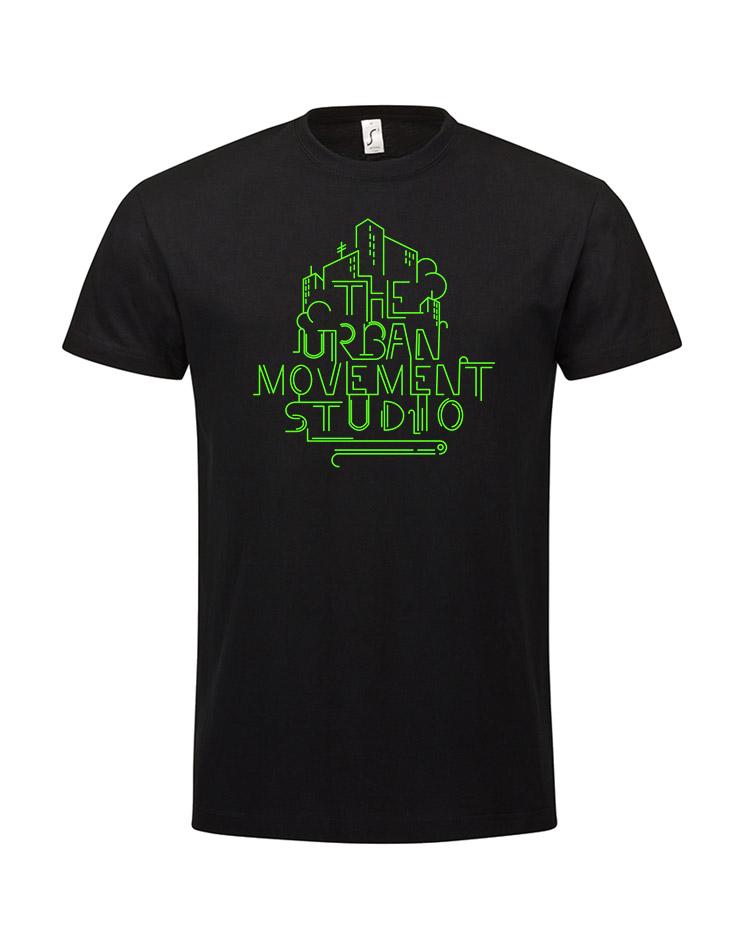 Urban Movement Studio Kinder T-Shirt neongrün auf schwarz