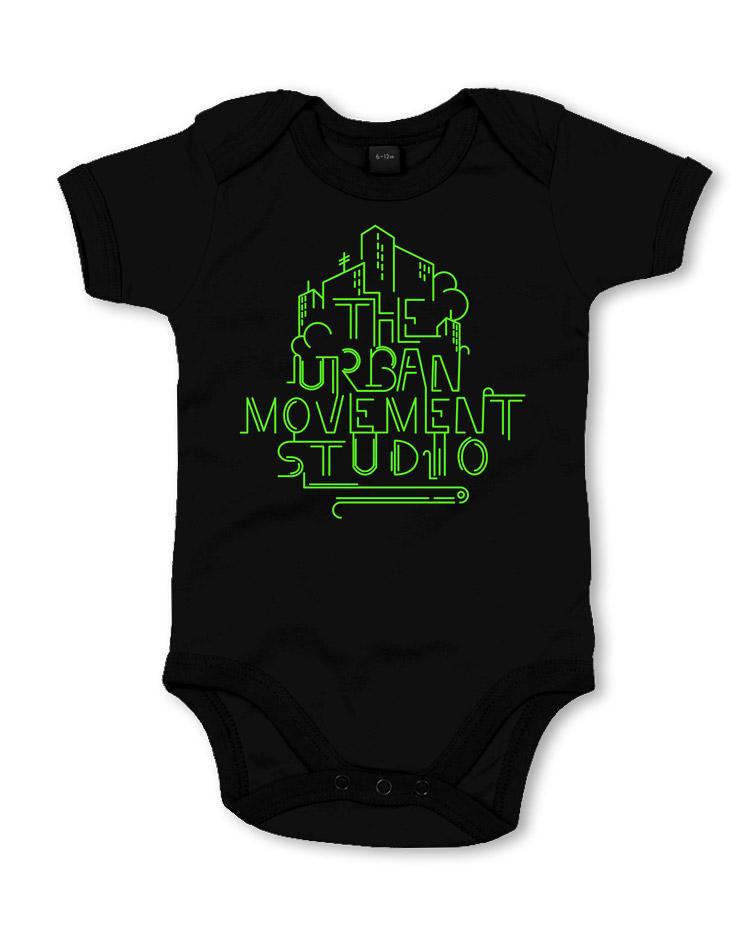 Urban Movement Studio Babystrampler neongrün auf schwarz