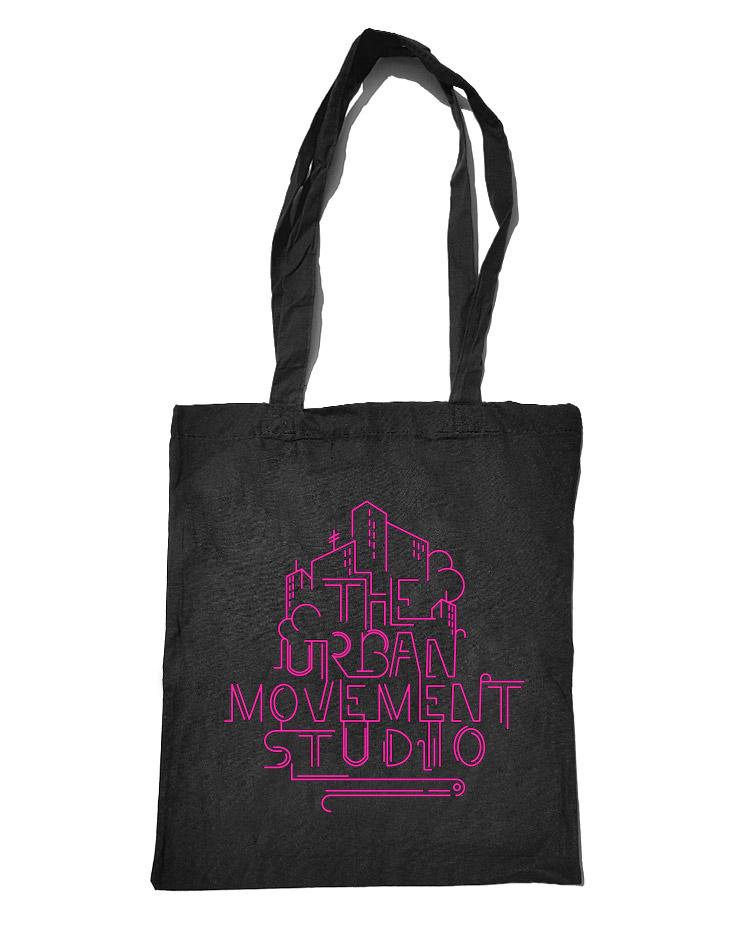 Urban Movement Studio Baumwolltasche neonpink auf schwarz