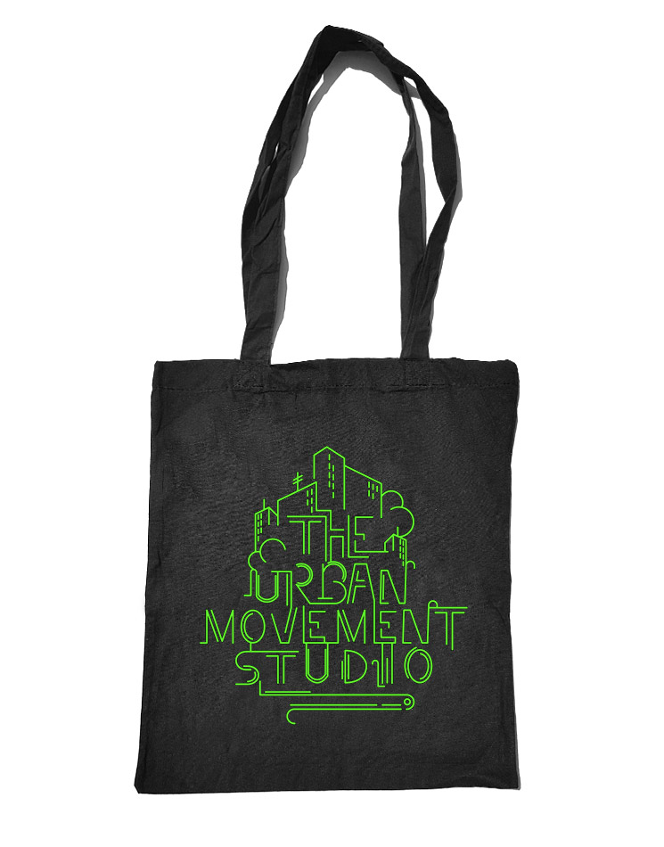 Urban Movement Studio Baumwolltasche neongrün auf schwarz